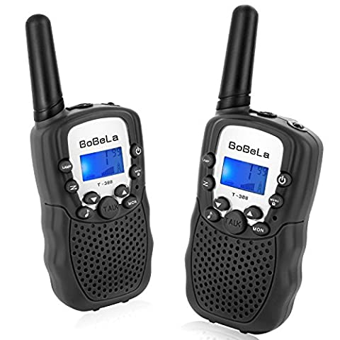 Bobela T388 Best Cool Walkie Talkies as Festival Christmas Gifts for EU Childrens Adults / Twin Way Radio Toys for Kids Riding / Long Range Walky Talky with Torch for Men Seniors Hiking ( Black 2 Pack )