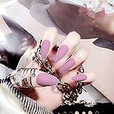 biutee False Nail Tipps 24PCS SET matt Full-Cover lang Abschnitten Falsche Nägel French Manicure mit Doppelseitiges Klebeband
