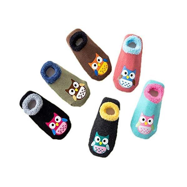 Hapkou 6 Pares Calcetines Antideslizante para Bebé Niña Niño Animados Lindo Búho Algodón Calcetines de Bebé 1