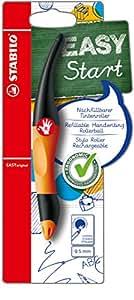 STABILO EASYoriginal - Stylo roller ergonomique rechargeable orange / noir - Droitier