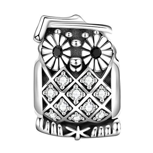 cd9b414b1d12 Jiayiqi - Abalorio de búho de Plata de Ley con diseño de Animales de la  Suerte