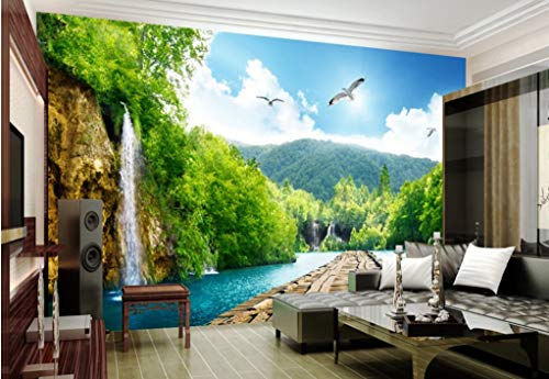 VVBIHUAING 3D Dekorationen Tapete Wandbilder Aufkleber Wand Naturkulisse, Tiefe Berge Wohnzimmer Hintergrund Umwelt Kunst Kinder Küche (W) 300x(H) 210cm