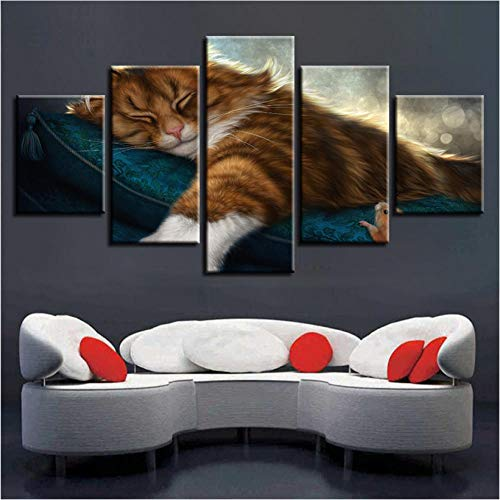 YANGSHUANG HD Printed Poster Modular Leinwandbilder Dekor 5 Stücke Tier Schöne Katzen Im Schlaf Gemälde Moderne Wandkunst Rahmen -