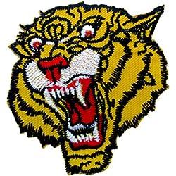 Toppe termoadesive - tigre bambini animale - giallo - 6,7x6,5cm - Patch Toppa ricamate Applicazioni Ricamata da cucire adesive