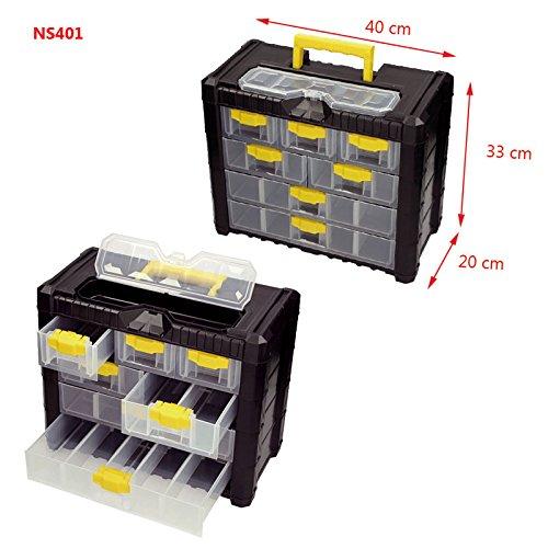 Werkzeugkasten Kleinteilemagazin Multicase Cargo 40x20x33cm Schubladen Kunststoff Werkzeugkoffer Werkzeugbox Werkzeugtrage Werkzeugkiste Sortimentskasten Sortimentskiste Kiste Box Kasten Werkstatt