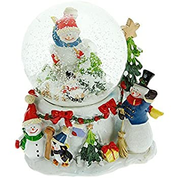 premier decorations 100mm musical snowman waterglobe