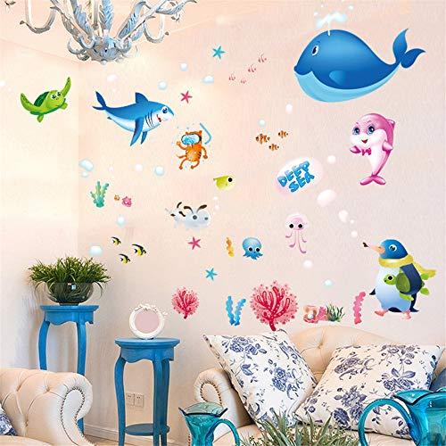 (Zfkdsd Tiefsee Kreaturen Cartoon Ozean Fisch Wandaufkleber Kinderzimmer Klassenzimmer Schlafzimmer Wohnzimmer Dekoration Abnehmbare Aufkleber Abziehbilder)