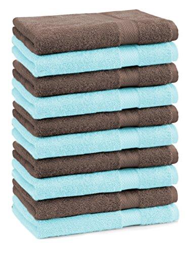 BETZ lot de 10 serviettes débarbouillettes taille 30x30 cm 100% coton Premium couleur turquoise et marron noisette