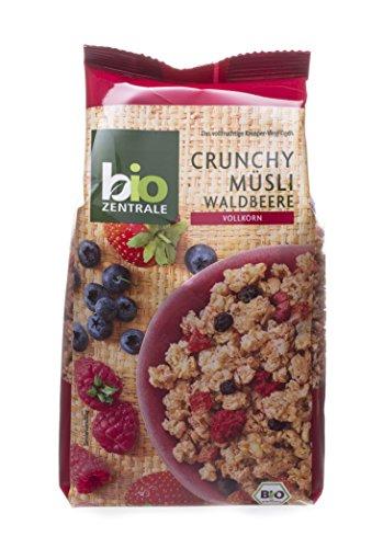 biozentrale Müsli Bio Crunchy Waldbeere | 375g Bio Müsli Walbeere | Ideal fürs Frühstück & den Müslibecher 2 go | Alternative zum Müsliriegel (Erdbeer-joghurt-rosinen)