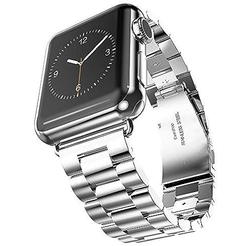 Evershop® Montre Sangle Bande en Acier Inoxydable 42 mm Sangle poignet montre fermoir en métal de rechange pour Apple, iwatch tous les modèles 42 mm Argent argent