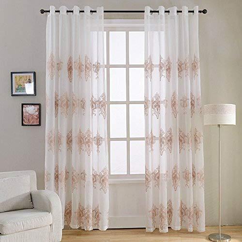 Top Finel 2 Piezas Bordado Modernas Visillos para Ventanas Cortinas Dormitorio con Ojales,140 x 215 cm,Amarillo