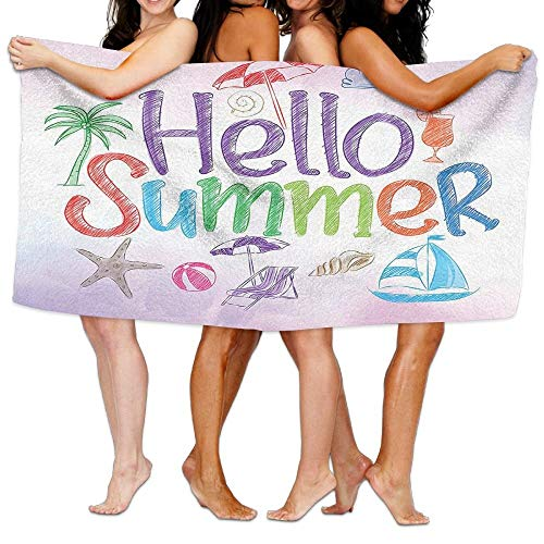PEKBUS Wxf Hello Summer Motivational Quote with Cocktail Umbrella Palms Starfish Holiday Print Soft Fast Drying Beach Towel Pool Towel 30x50