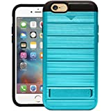 Cubix Hidden Card Slot Case For IPhone 6 IPhone 6s Armor Cover Brushed Slim Hybrid Back Cover Kickstand (Eastern Blue) For Apple IPhone 6 Apple IPhone 6s