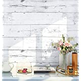 HaokHome MR47 Peel and Stick Wood Wallpaper Shiplap Light Grey/White/Blue Distressed Wood Plank Removable Wallpaper Self-Adhe