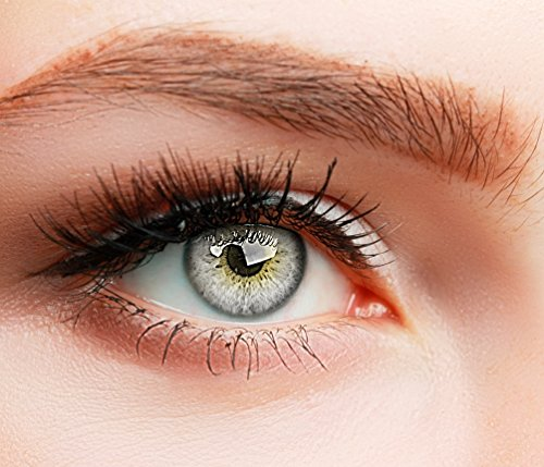 ELFENWALD farbige Kontaktlinsen, 3-Monatslinsen, besonders natürlicher Look, maximaler Tragekomfort, SUPREME Serie, ohne Stärke, 1 Paar weiche Farblinsen ohne Zusatzbehälter (Hellgrau)