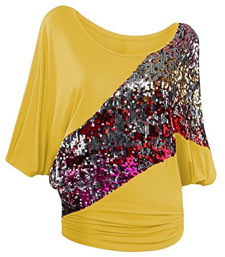 SMITHROAD Damen T-Shirt mit Pailletten Applikationen Fledermaus Shrit Top Kurzarm Dehnbar Rundhalsausschnitt Loose Fit Gelb