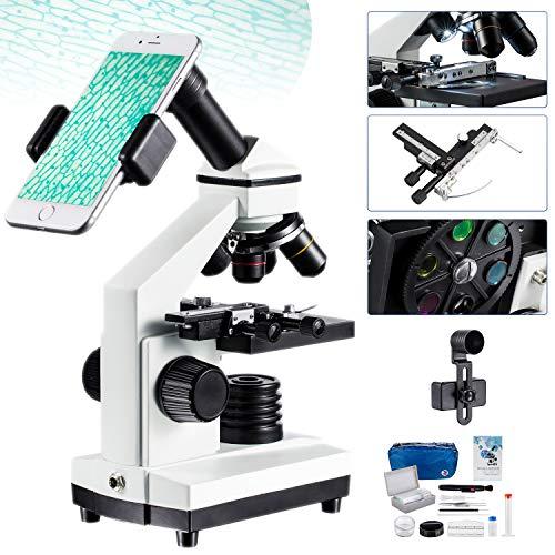 1000x Mikroskopen Bewegliches Lineal Mikroskopen Labor LED mit vorbereiteten und leeren Objektträgern Mikroskop Zubehör (H2003)