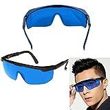 Occhiali Di Protezione Blu -Confezione da 12 occhiali lavoro, Occhiali Protettivi con Lenti in Plastica e con Nasello e Astine in Gomma Antiscivolo per una Vestibilità Confortevole-Protezione Raggi Laser Verdi e Blu- Occhiali Impieghi Pesanti per Lavori Sicuri