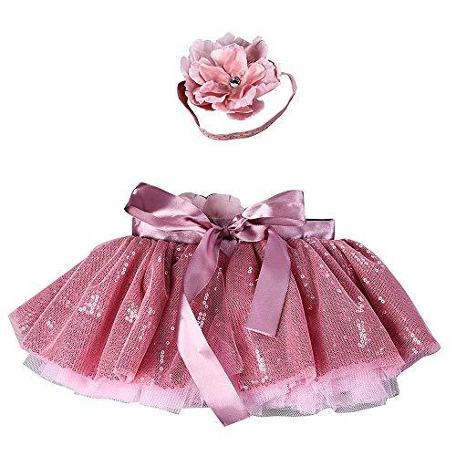 Lazzgirl Mädchen Kinder Tutu Party Tanz Ballett Baby Bling Kostüm Rock + Floral Stirnband Set(Rosa