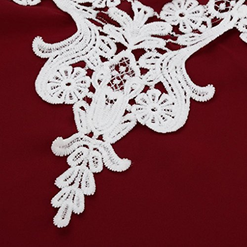 OverDose Damen Lace Chiffon Vest Top Sleeveless Casual Tank Blouse Summer Tops T-Shirt Spitze Weste Sommer Blusen A-Z-Rot