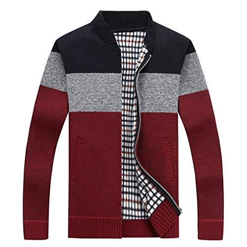 Guyufang Herbst Herren Dick Sweatercoat Gestreiften Stehkragen ReißVerschluss Pullover Mantel Oberbekleidung Winter Fleece Kaschmir Liner Pullover Red XL - Mit Wolle-liner Mäntel