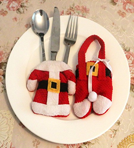 Santa Christmas Tableware Bags - Decoration Dining Table Knife Fork Tableware Bags,Coat and Trouses