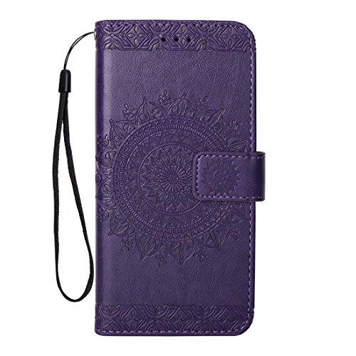 Für iphone 6 Plus/iphone 6S Plus Hülle Flip Case, QFUN Mandala Muster Design PU Leder Tasche Schutzhülle Bookstyle Klappbar Brieftasche Lederhülle Magnetverschluss Standfunktion Klapphülle mit Kartenfach Stoßfest Anti-Rutsch Vollschutz Bumper Cover und Schutzfolie für iphone 6 Plus/iphone 6S Plus - Lila (Ich Handy Sechs-zubehör)