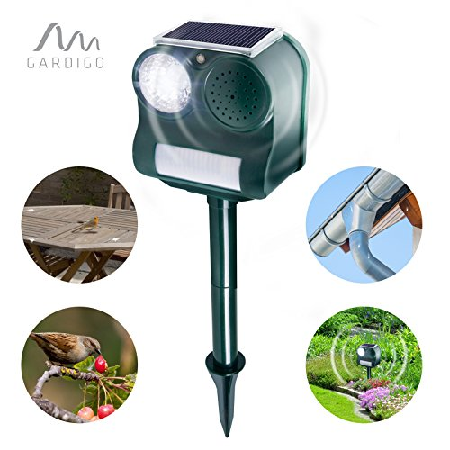 Gardigo Solar Vogelabwehr elektronisch Vogelscheuche mit Ultraschall, Blitzlicht und Erdspieß