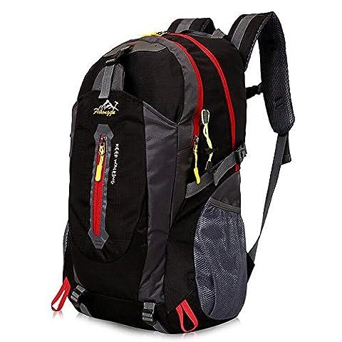 40L Leichte Wanderrucksack, Natuce Multifunktionale Wasserdicht Casual Camping Tagesrucksack für Outdoor-Sport Klettern Bergsteiger 52 X 33 X 16 cm - Schwarz