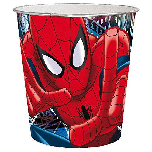 Joy Toy 72248 Poubelle Spiderman de Plastique, Multicolore, 21x21x23 cm
