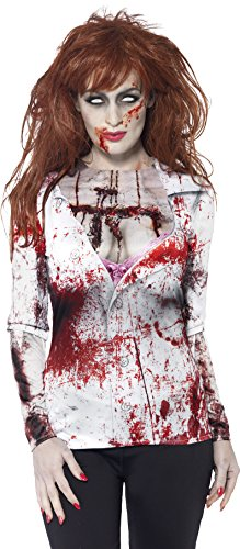 Smiffys, Damen Zombie Kostüm, T-Shirt mit Sublimationsdruck, Größe: L, (Männer Kostüme Sexy Halloween)
