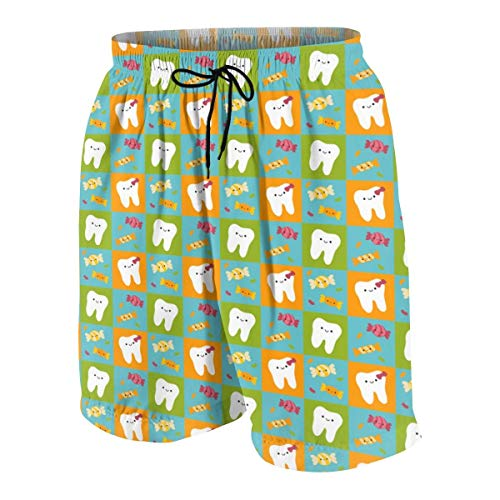 KAKICSA Cute Kawaii Tooth Fairy Tooth Happy Teeth Candy Checkerboard - Blue, Orange, Green Mens Hawaiian Shorts Quick Dry Summer 3D Printed Elastic Beach Trunks Aloha Short with Pocket,Size:L