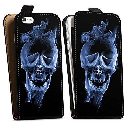 Apple iPhone X Silikon Hülle Case Schutzhülle Halloween Skull Rauch Downflip Tasche schwarz