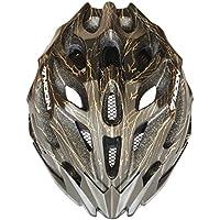 Moon Ultralight - Casco de ciclismo deportivo para adulto MTB/Road con visera extraíble, unisex, MV27-BLA-GOL