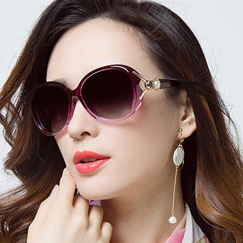 Sunyan Das Elegante High Gloss Sonnenbrille rundes Gesicht Stars, Sonnenbrille Frauen Lange Gesicht Augen Retro, Lila, Lila-Chip