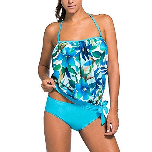 Ladies Split Badeanzug Freizeit Strand FrüHling Und Sommer Modischen Bikini Sexy GroßE GrößE Split Badeanzug , blue flowers , (Flirt Kostüme Stretch)