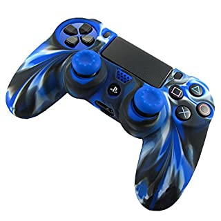MMLC Playstation PS4 Controller Zubehör Hülle Silikon Case 1PC Silicone Case Cover + 2PC Rocker Cap (Blue)