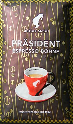 Julius Meinl Kaffee Präsident Espresso, ganze Bohnen, 5 Packungen mit jeweils 500g, gesamt 2,50 Kg