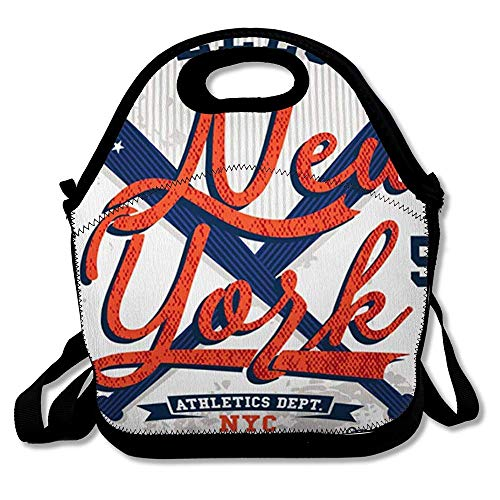 Lunch Bag Tote Boxes Bags Insulated LunchBags Varsity Vintage College Baseball Graphics Jersey Tshirtvector American Emblem Retro Lunch Box for Office Work School Student -