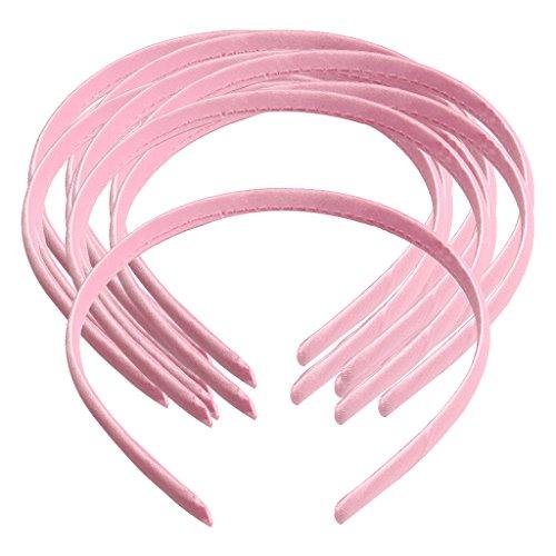 Sharplace 10 Stücke Frauen Mädchen Satin Stirnband Haarband Kopfschmuck DIY - Rosa