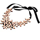 WUSIKY Damen/Teen Mädchen Mode Elegant Blume Band Kurze Halskette Anhänger Kristall Choker Chunky Kragen Kette Schmuck Zubehör Mädchen Geburtstagsgeschenk Muttertagsgeschenk (Gold)
