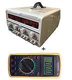 DOBO Alimentatore DUALE + tester multimetro / Alimentatore Stabilizzato da banco Duale Trasformatore lineare professionale regolabile 30V-60V e 5A-10A + Multimetro Digitale DISPLAY GIGANTE