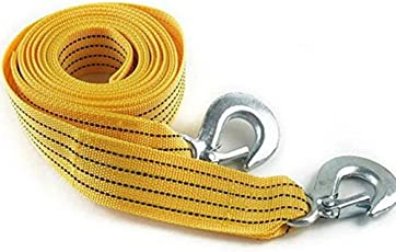 VARSHINE Long Super Strong Emergency Heavy Duty Car Tow Cable 3 Ton Towing Strap Rope with Dual forged Hooks (Yellow, A-05)