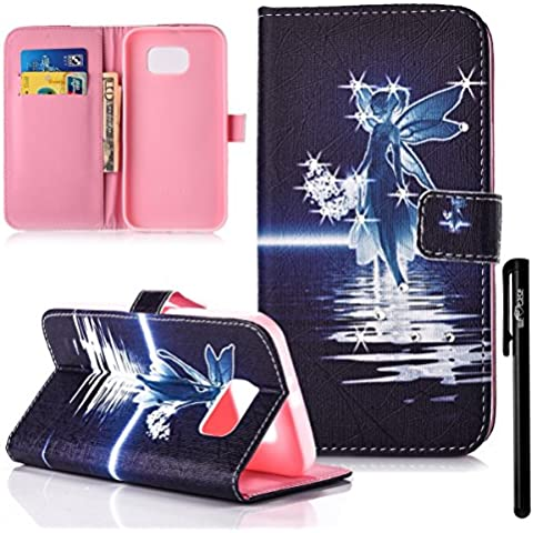 We Love Case 2 In 1 Portafoglio Custodia Galaxy S7 Edge Plus Cover Samsung S7 Edge Plus Case Elegante Borsa Design Nero Angelo Particolari Diamante Sparkle Shine Belle Vintage Retro Modello Custodia in Pelle PU Leather Cuoio Wallet Libro Flip Chiusura Magnetica con Supporto Stand e 2 Titolare Della Carta Integrati Cover Antiurto Anti Polvere Antigraffio Case Morbida Shell Protettiva Caso per Samsung Galaxy S7 Edge Plus + Stilo Penna