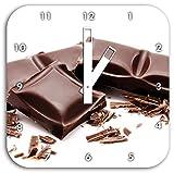 barretta di cioccolato Delicious, orologio da parete quadrato del diametro 28 centimetri con le mani bianche e il viso, oggetti di decorazione, Designuhr, composito di alluminio molto bello per soggiorno, studio