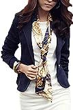 Las Mujeres Traje Elegante Collar Sólido Botón Slim OL Oficina Blazer Outcoat Navy XL