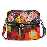 Mehrfarbig Floral Umhängetasche, OURBAG Damen Schulter Messenger Bag Tote Handtasche
