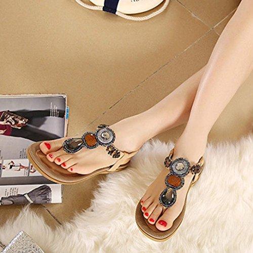 Bohemien Perle Color Piatta Estate Ouneed® Di Gioielli Decro Sandalo Kaki Scarpe Donne Delle RqnC5