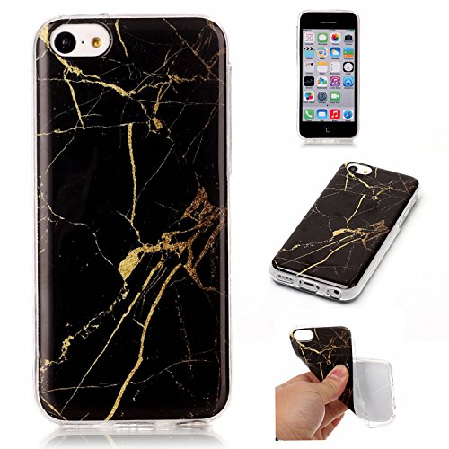 Cozy Hut Für iPhone 5C Handyhülle mit Marmor / Marble Design(schwarz / golden) | Handytasche | | Schale | | Hülle | | Case | Handy-etui | TPU-Bumper | Soft (Mickey Mit Hut Ohren)
