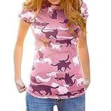 VECOLE Damenoberteile Mode Katzendruckhemd Kurzarmhemd Bluse für Frauen Sommer Tops Damen(Pink,S)